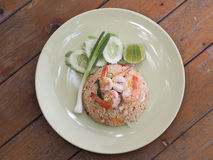 Thai fried rice with Shrimps. In Thai style restaurant Stock Photo