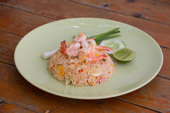 Thai fried rice with Shrimps. In Thai style restaurant Stock Images