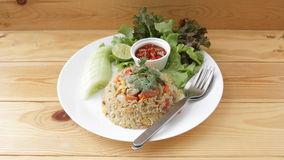Thai fried rice. Very common type of Thai fried rice royalty free stock photos