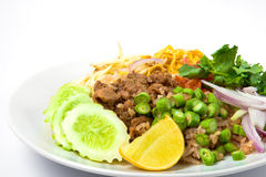 Thai fried rice on white background Royalty Free Stock Images