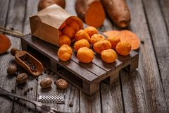 Thai fried sweet potato balls Stock Photos