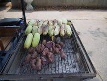 Thai friut grilled. Corn ,banana,sweet potato stock image