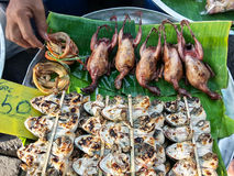 Thai frog barbecue, asian food Stock Photography