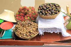 Thai fruit mangosteen rambutan and longan Royalty Free Stock Image