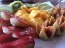 Thai Fruit Patter, Breakfast. An appetizing breakfast of tropical Fruits, artistically decorated to start the day on a health note. Nowhere than in Thailand do Royalty Free Stock Photography