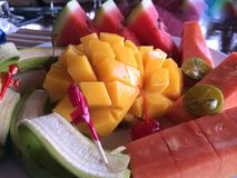 Thai Fruit Patter, Breakfast. An appetizing breakfast of tropical Fruits, artistically decorated to start the day on a health note. Nowhere than in Thailand do Stock Photos