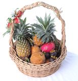 Thai fruit in the rattan basket Royalty Free Stock Photos