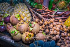 Thai fruits in the garden to bring tourists to eat. Papaya, pineapple, jackfruit, mango, muffin, leaf,rattan, durian Stock Images