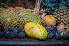 Thai fruits in the garden to bring tourists to eat. Papaya, pineapple, jackfruit, mango, muffin, leaf,rattan, durian Stock Photo