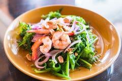 Thai fusion food,vegetable fern and seafood salad -Diplazium esc Royalty Free Stock Image