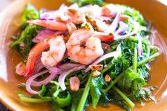 Thai fusion food,vegetable fern and seafood salad -Diplazium esc Stock Photo