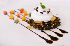 Thai fusion style dessert rice cake. Crispy Thai fusion style dessert rice cake royalty free stock photo