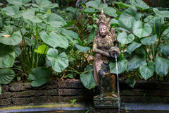 Thai Garden with a fountain and a Small Pond Stock Image