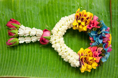 Thai garland on banana leaf Royalty Free Stock Photography