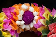 Thai garland colorful flowers. (Close up - Macro shot) Royalty Free Stock Photo