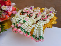 Thai garland Flowers. Jasmine and roses corolla crown flower Royalty Free Stock Images