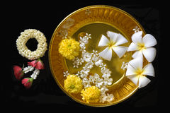 Thai garland Flowers and Water with jasmine Stock Photos
