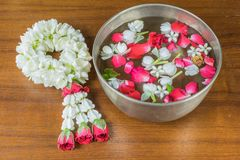 Thai garland Flowers and Water with jasmine and roses corolla in Stock Image