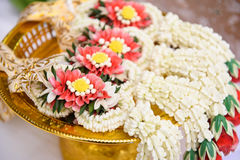 Thai garland. Jasmine garland placed on the tray Royalty Free Stock Photos