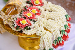 Thai garland. Jasmine garland placed on the tray Stock Image