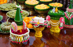 Thai garland and sweet. For Thai wedding ceremony Royalty Free Stock Images