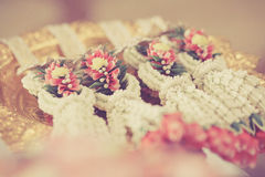 Thai garland, for Thai wedding ceremony put on gold tray Stock Photo