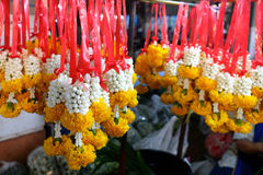 Thai garlands in the market Stock Photo