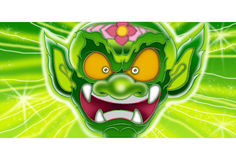 Thai Giant angry face character design. Thai Giant Green color angry face agape to roaring crop background is space blitz cartoon The characters in literature stock illustration