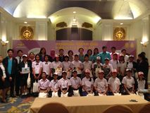 Thai primary school students in ASEAN Quiz competition stock photography
