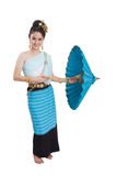 Thai girl. And ancient costume on white background stock images