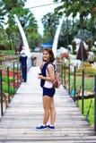 Thai girl in beautiful garden Stock Image