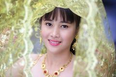 Thai girl. Beautiful Thai girl in traditional thai costume, identity culture of Thailand. Traditional Costume of Thailand royalty free stock image