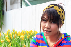 Thai girl is dental braces. And cute in bright colors stock photo