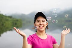 Thai girl enjoy  her lifestlye and happy Royalty Free Stock Image