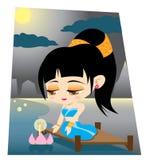 Thai girl Loy Krathong Stock Images