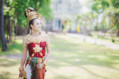 Thai girl with northern style dress Stock Photos