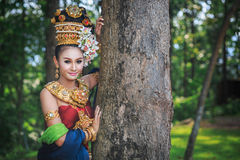 Thai girl with northern style dress Royalty Free Stock Photos