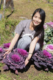 Thai Girl in purple cabbage farm Royalty Free Stock Images