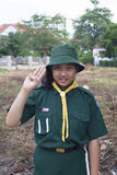 Thai girl scout green uniform Royalty Free Stock Images