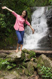 Thai Girl At Siribhum Water Fall Royalty Free Stock Photo
