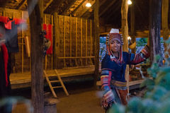 Thai girl. In traditioal dress in Thai village Royalty Free Stock Image