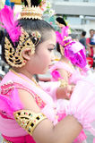Thai girl in traditional dress during in a parade Royalty Free Stock Image