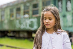 Thai girl with train carriage Stock Photography