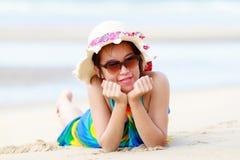 Thai girl on tropical beach Royalty Free Stock Photo