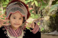 Thai girl wear costume traditional of ethnic hmong Royalty Free Stock Image
