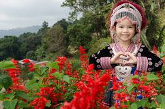 Thai girl wear costume traditional of ethnic hmong Stock Images