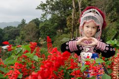 Thai girl wear costume traditional of ethnic hmong. For take photo in garden at Doi Pui Tribal Village and National Park in Chiang Mai, Thailand Stock Photography