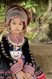 Thai girl wear costume traditional of ethnic hmong. For take photo in garden at Doi Pui Tribal Village and National Park in Chiang Mai, Thailand Royalty Free Stock Image