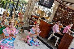Thai girls in traditional costumes Royalty Free Stock Photos