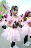 Thai girls in traditional dress during in a parade Royalty Free Stock Images